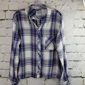 Rails Plaid Button Down Flannel Shirt ~ Large